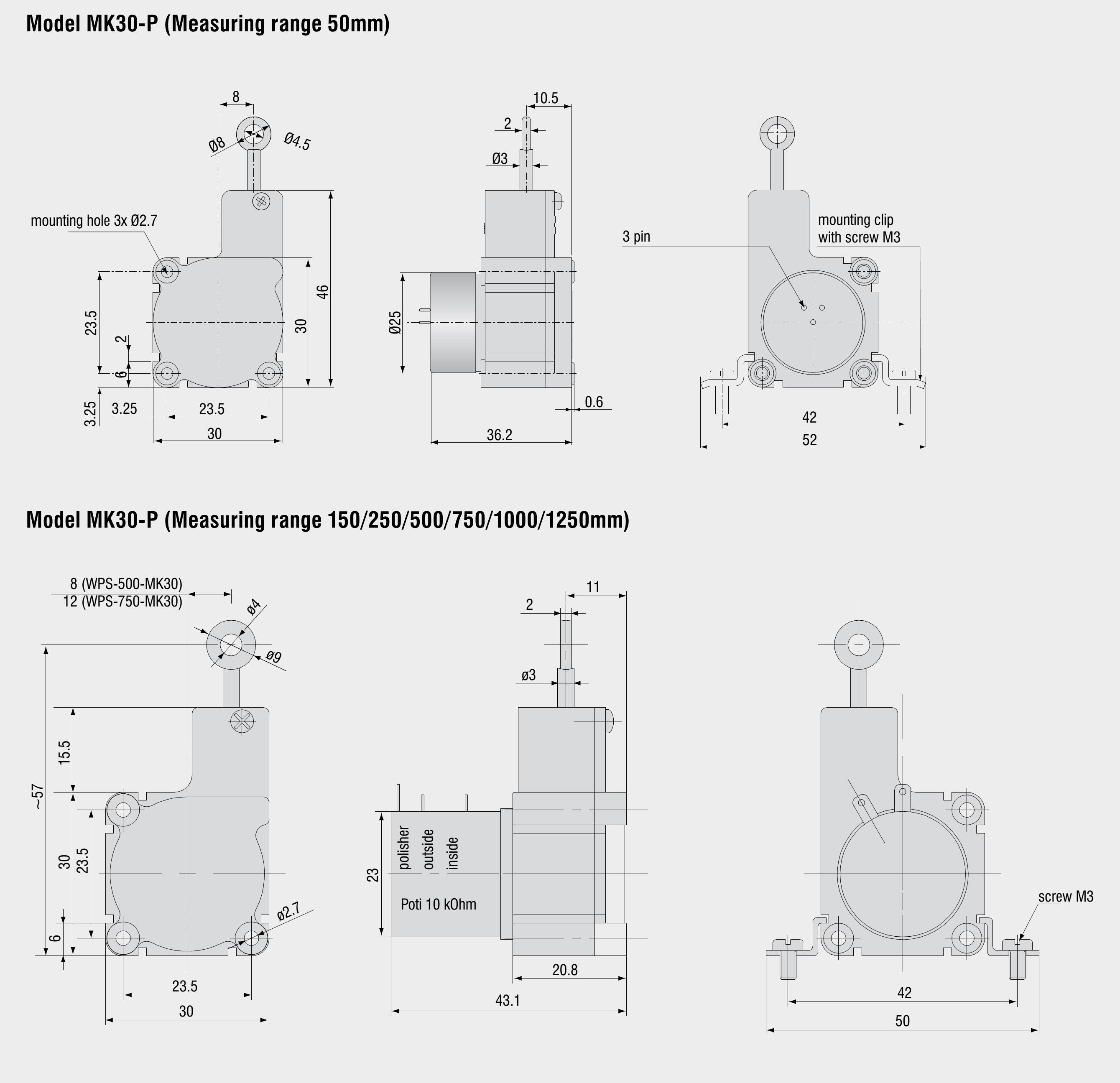 50-7500 mm 模拟信号输出 电位器/电压/电流 数字信号输出 编码器
